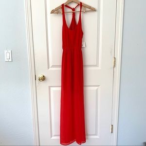 Dee Elle Red Knot Back Racerback Maxi Dress